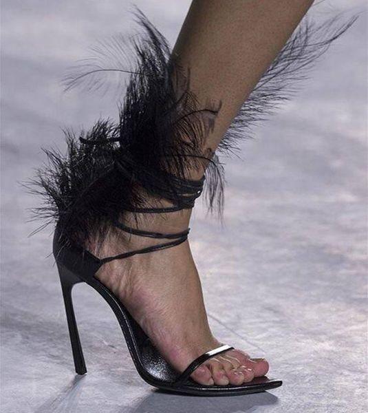 Дизайнер перья женские сандалии-гладиаторы на высоком каблуке туфли на высоком к фото