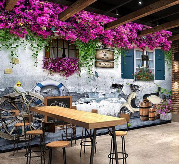 Пользовательские фото любого размера Средиземноморское окно роза фон розовые обои для стен 3 d для гостиной фото