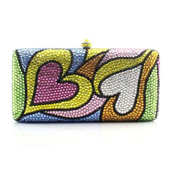 yellow/pink/white full crystal clutch purse 2020 women heart shape party dinner shoulder messenger handbag (525655277) photo