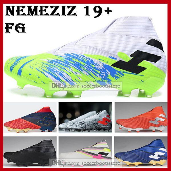 Mens High Tops бутсы Uniforia пакет Nemeziz 19+ Firm Ground Бутсы Nemeziz Месси 19 FG Открытый футбол обувь фото