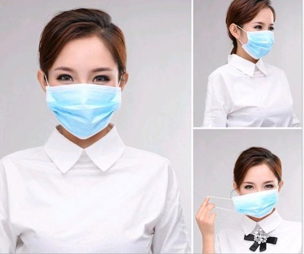 disposable 3-layer masks anti dust breathable disposable earloop mouth face mask medical sanitary surgical mask(100 masks/5 packs)