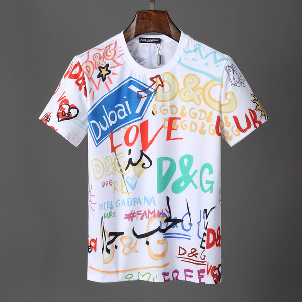 2019 new product recommended men wear de igner brand t hirt ignature graffiti dg print multi line front and back letter loo e hirt