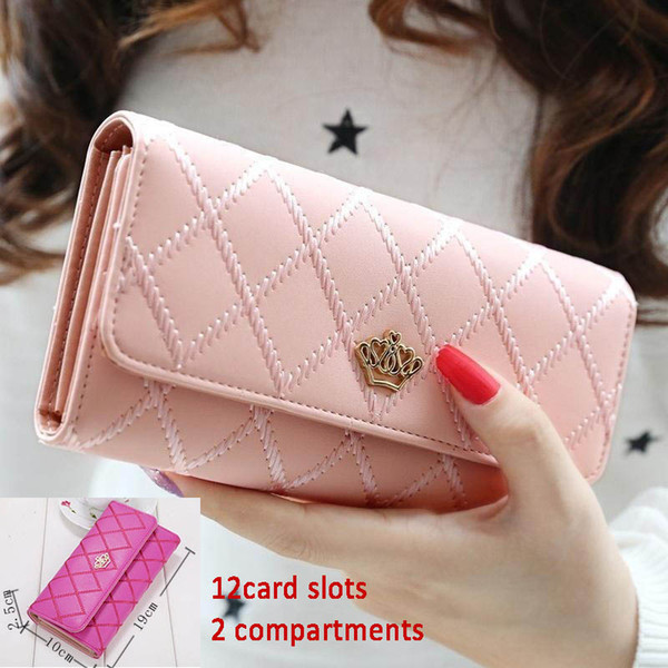 women girl rhombus pattern long wallet for party metal hearts crown lady purse womens handbag shoulder wallets (503700305) photo