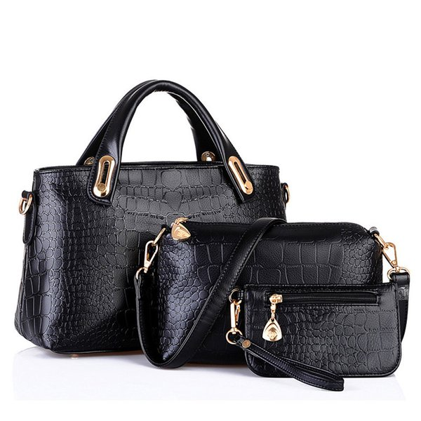 brand women handbag shoulder bags tote purse leather ladies messenger hobo bag female 3 sets handbag+small purse (502005435) photo
