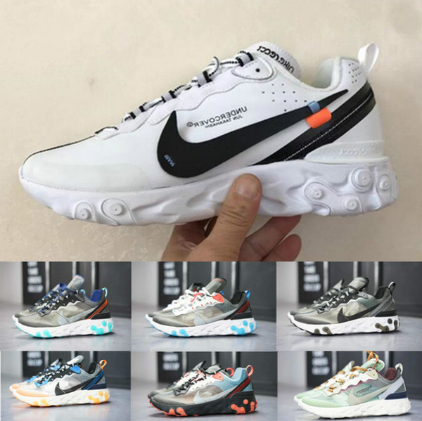 Free Shipping react element 87 55 casual shoes for men women Light Bone triple black bred Hyper Pink mens trainers leisure sneakers 36-45