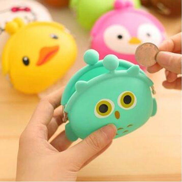 2016 3d kawaii cute cartoon animal silicone coin purse wallets rubber purse bags coin case kids wallet fashion girls bag (490146068) photo