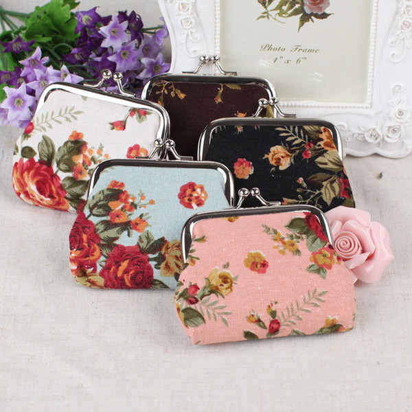 dhl 2019 cute flower coin purse change pouch canvas vintage hasp closure buckle wallet small gift bag women girl handbag 5 styles m058f (478837970) photo