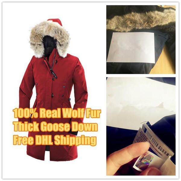 Зима вниз ветровки Толстовка Канада Kensington Wolf меховой женские куртки Молния Дизай фото