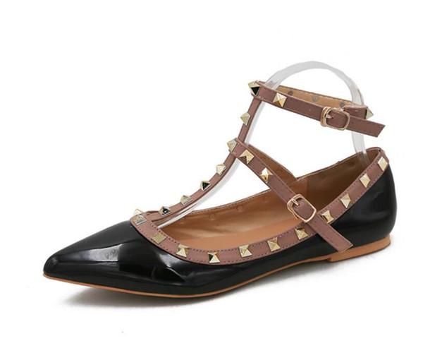 Zapatos Mujer Color Rivets Зубчатые гладиаторские туфли на плоской подошве Сандалии на камня фото