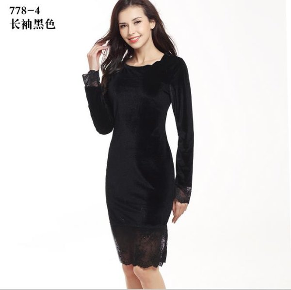 autumn women style dresses lace decoration sheath silhouette full sleeve length solid pattern type empire