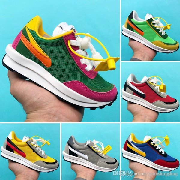 Sacai x ldwaffle kids running shoes boys girls green gusto sneaker waffle pine green sneakers ldv waffle sports trainers фото