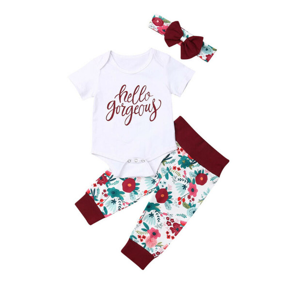 cute kids baby girl summer clothing sets newborn girl cotton 3pcs letter romper floral long pants headband 3pcs outfits 0-18m