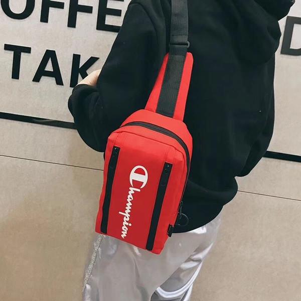 2019 champion letter printing bag  me  enger bag pur e wallet pocket double zipper fa hion outdoor wai t bag travel backpack b3292