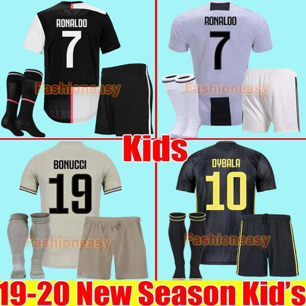 Juventu occer jer ey kid kit et 2019 2020 ronaldo 19 20 dybala ram ey mandzukic chiellini boy football hirt uniform juve maglia