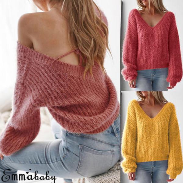 women sweater autumn  fashion casual loose pullovers sweater v-neck women's  jumper female knitwear 2019