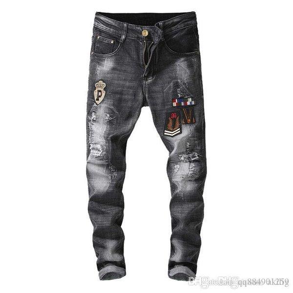 Мужские Проблемные рваные джинсы Байкер Slim Fit Мотоцикл Байкер Denim новых людей Модельер Hip Hop мужские джинсы Plus Размер 30-36 фото