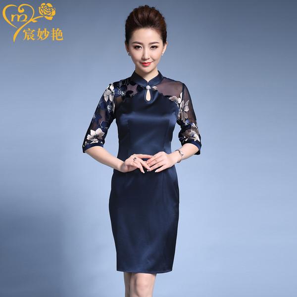 Трансграничный специальный тяжеловес шелковое платье ретро улучшенный cheongsam платье шелк шелковицы XL женская одежда фото
