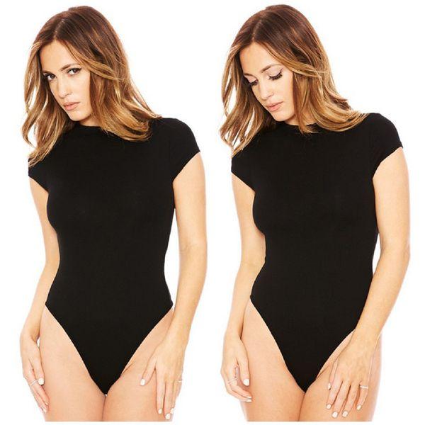 meihuida autumn women o-neck short sleeve stretch skinny soft bodysuit swimsuit bathing beachwear