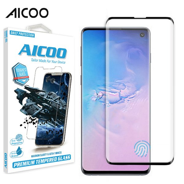 Aicoo 3d curved fingerprint  en or anti  cratch  creen protection tempered gla   for  am ung  10  10e  10plu  retail package