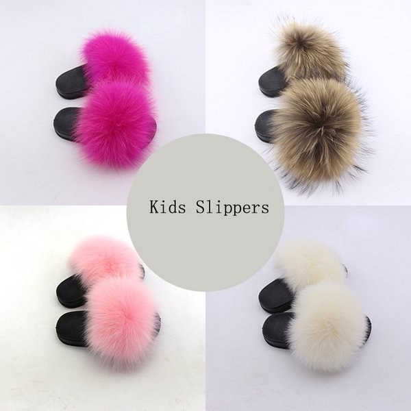 2019 Rass ple Kids Real  Slippers Raccoon Slides Chinelos Menina Slippers Toddler Baby Girls Shoes Summer Flip Flops