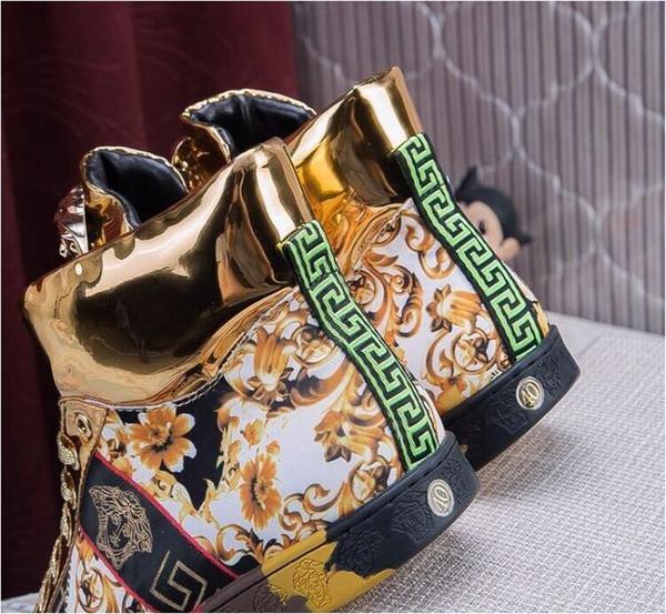 Бренд мужская обувь, золотая нить вышивка мужская повседневная обувь, водонепрон