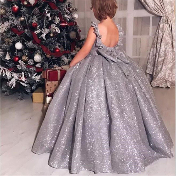 Blingbling Sliver Sequin 2019 Девушки Pageant Платья с открытой спиной Jewel Шея бальное платье Ruched Д