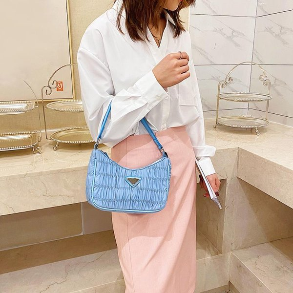 nylon women simple handbag retro evening clutch pleated pure color shoulder bag female evening clutch shopping tote purses (544390269) photo