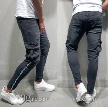 Men Black Ripped Pencil Pants Spring Autumn Big Pockets Designer Striped Letters Zipper Biker JEANS