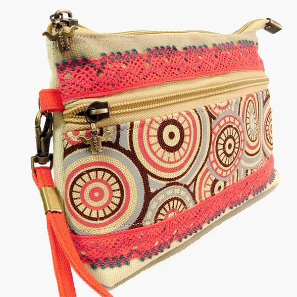 2019 new coin purse girl canvas zipper wallet national handmade fashion handbag women portable circular pattern hand-woven bag (479497630) photo