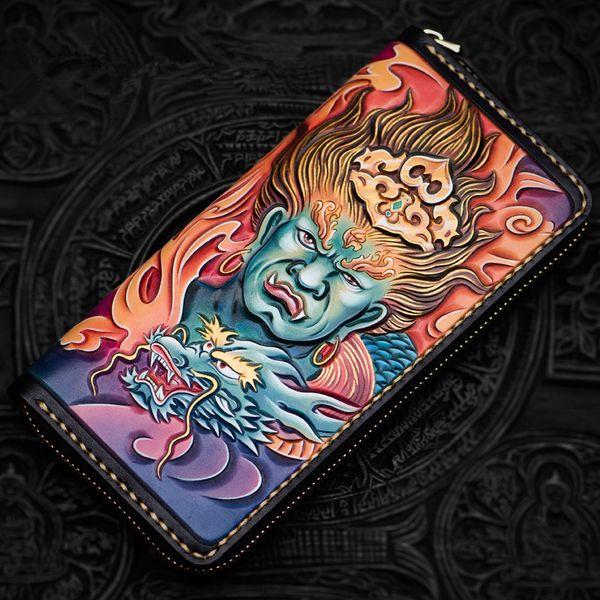 high-grade handmade acalanatha wallets zipper purses men long clutch vegetable tanned leather wallet card holder (488614398) photo