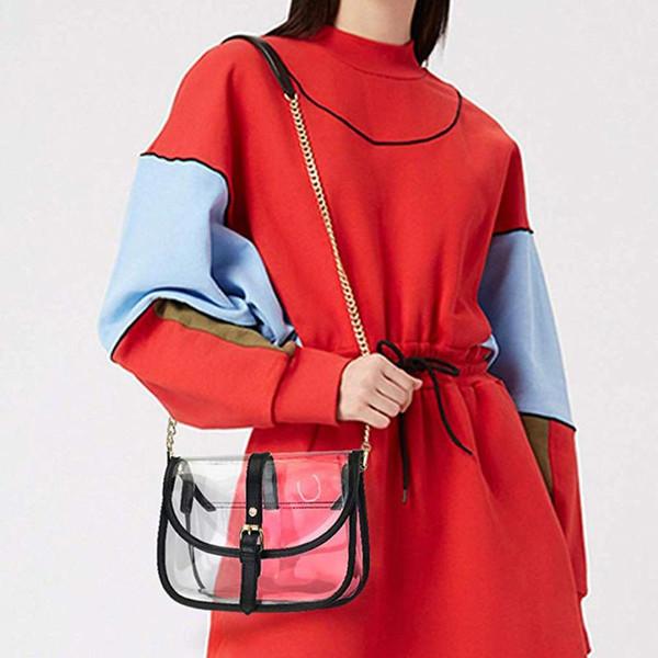 women transparent bag pvc clear shoulder crossbody bags messenger bag ladies girl chain handbags and purses bolso mujer #yjg (529819816) photo