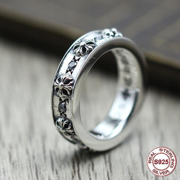 S925 чистое серебро мужское кольцо индивидуальность в стиле панк Сделай старое вос