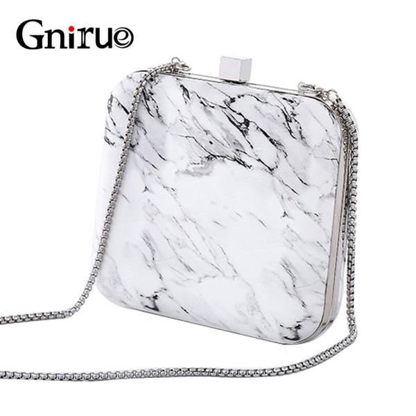 new fashion women's day clutch bag unique marble print pu evening bag chain shoulder handbags vintage elegant purses marmont (487251401) photo