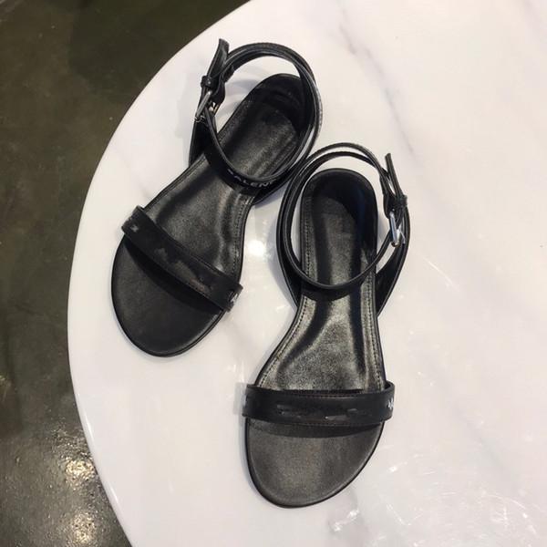 Размер 35-41 Женщины Дизайнерские сандалии Топ Кожа с цветовой гаммой Сумка от пыли Дизайнерская обувь Роскошные слайды Летние широкие плоские сандалии Sli shuang190404
