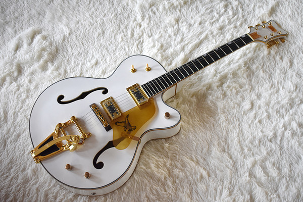 Factory cu tom emi hollow white electric guitar with tremolo y tem gold hardware ro ewood fretboard can be cu tomized