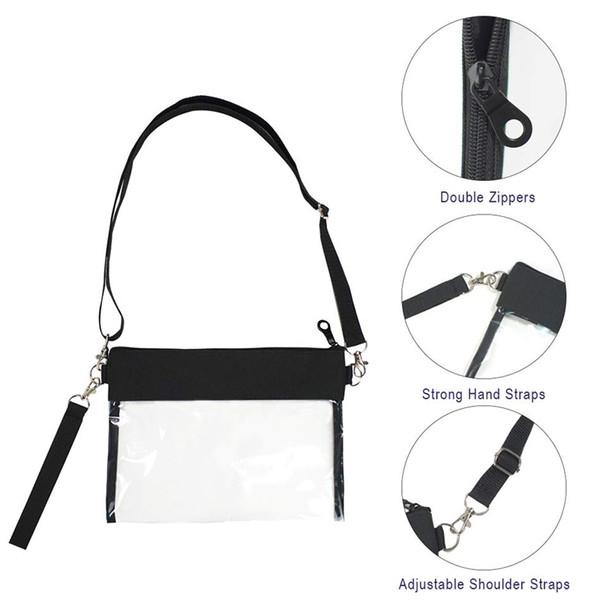 clear crossbody purse bag clear shoulder tote bag with adjustable shoulder strap wrist strap zj55 (481649049) photo