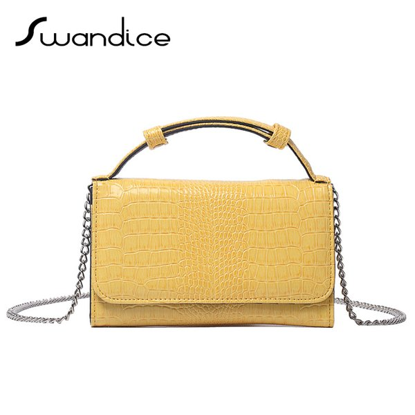 crocodile pattern chain flap handbags evening clutches mini crossbody messenger shoulder bags women female ladies purses (547999457) photo