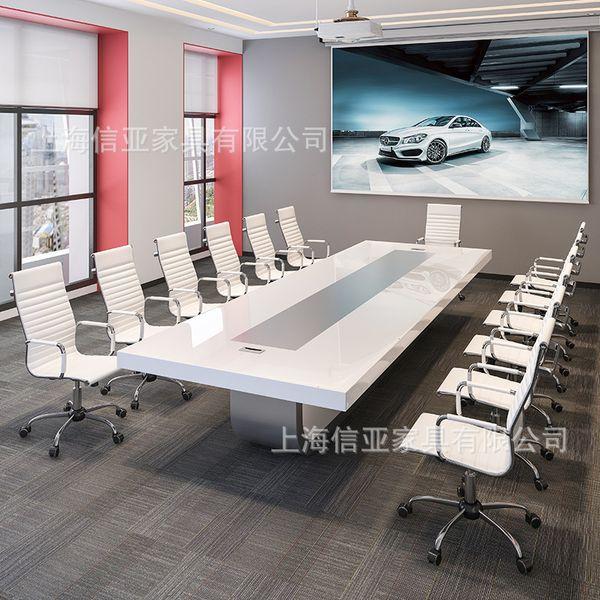 Белая краска мода конференц-стол длинный стол офисная мебель простой современный творческий конференц-стол фото