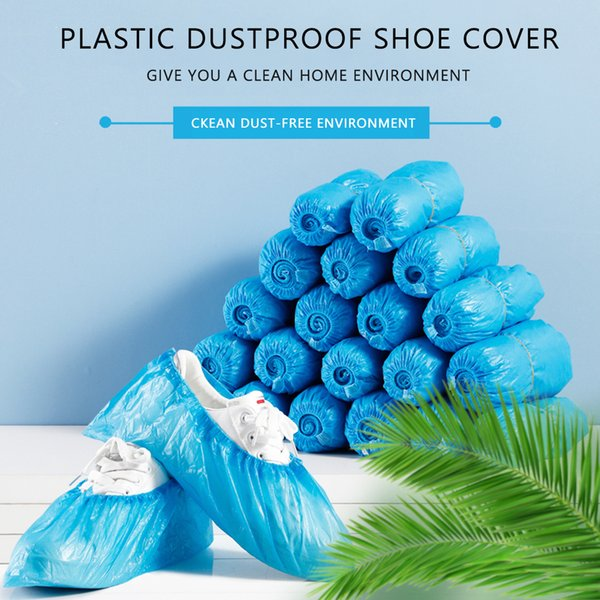 Пластиковые водонепроницаемые одноразовые бахилы прочные непромокаемые водонепроницаемые пылезащитные синие чистящие бахилы до колен бахилы для обуви фото