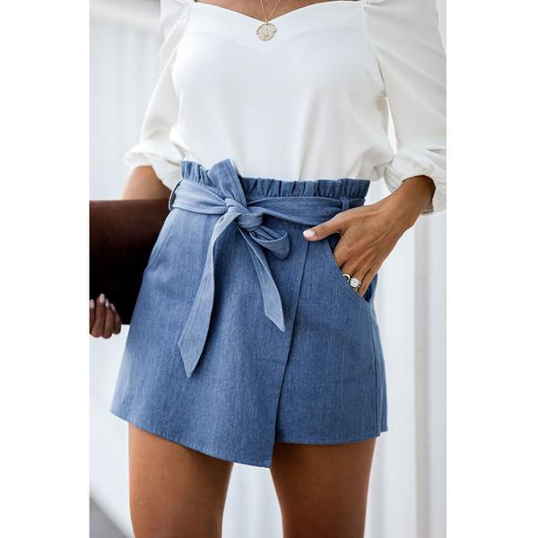 Женские джинсовые шорты Классический Vintage высокой талией синий Wide Leg Женский случайные летние женские шорты джинсы для женщин SY86283 фото