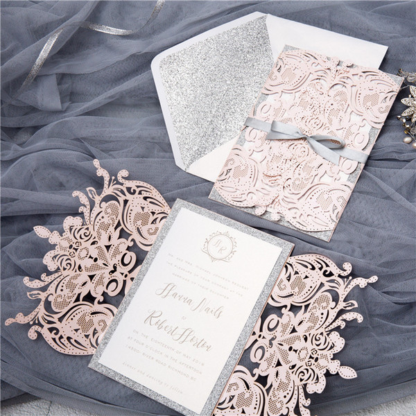 (50 pieces/lot) European Light Pink Wedding Invitation Card Laser Cut Floral Wedding Card Glittering Engagement Baptism Invitations