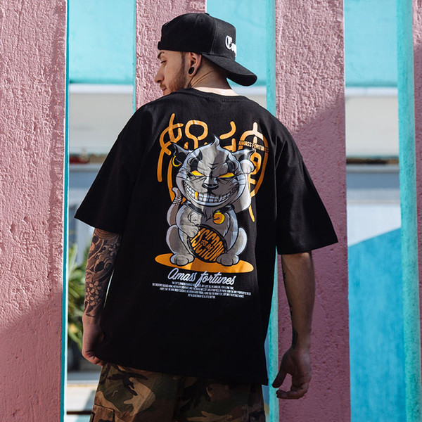 MarchWind бренд хип-хоп футболка забавный злой Furtune Cat печати футболки мужчины Harajuku уличная летняя футболка хлопок с коротким рукавом топы тройники фото