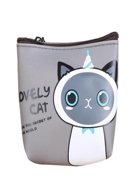 women girls cute cat fashion coin purse wallet bag change pouch key holder cat pattern girl wallet h30415 (481490043) photo