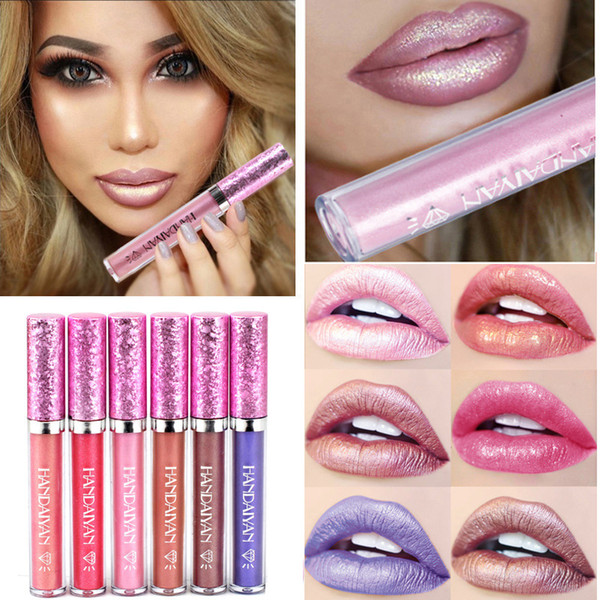 New handaiyan makeup hining liquid lip tick diamond luminou lip glo 6 color dhl hipping