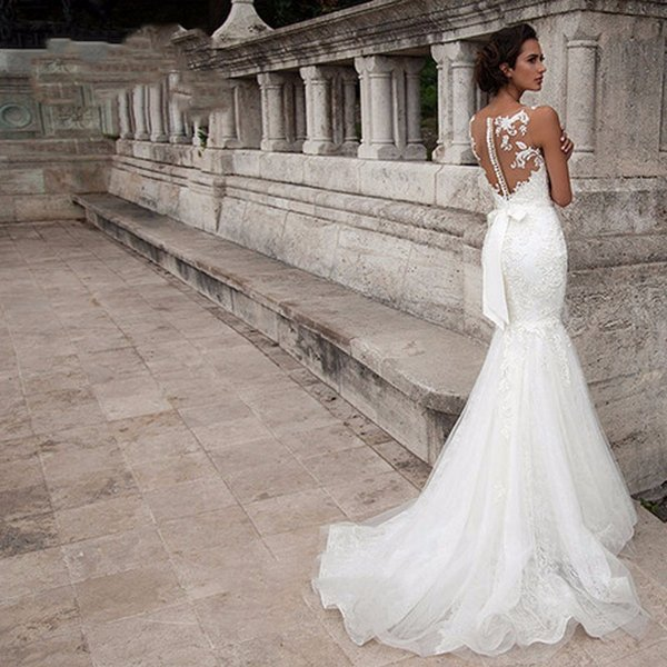 Sexy Backless Mermaid Wedding Dresses 2019 Elegant White Lace Appliques Bridal Gowns Sweep Train Bridal Dresses Sheer Neck Robe De Mariée