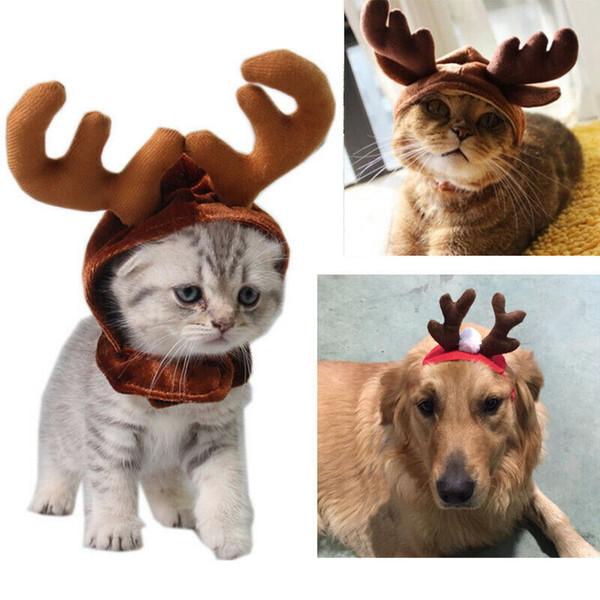 pet cat dog cap puppy animal christmas hat reindeer costume cap headband