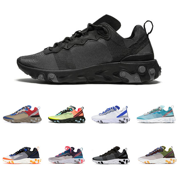 2019 nike react element 87 55 trainers for men women black white GREY ROYAL Anthracite top quality mens sports sneakers shoes фото