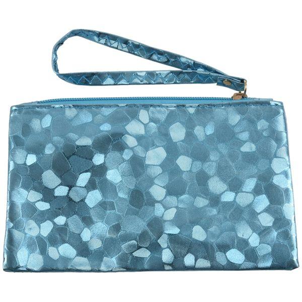 new ladies clutch purse pochette petit sac zippé métallique, bleu (530125768) photo