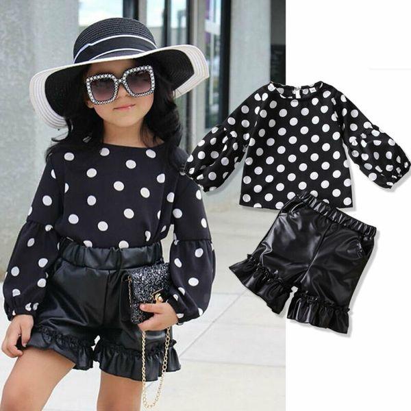 Малыш Baby Girl Kid Set рубашки в горошек топы Pu Ruffers шорты кожаные брюки 2шт одежда 1-6 лет