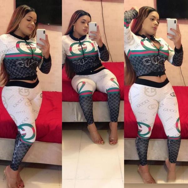 Free Ship 2019 Autumn Winter Women Fashion Print Zipper Baseball Jacket+Pants Set Lady Casual Slim Tracksuit 2Pcs Suit